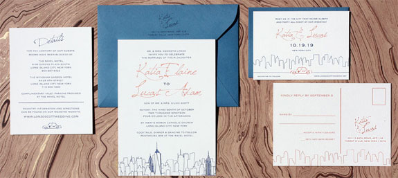 Waterfront Terrace wedding invitation exclusively from PostScript Brooklyn