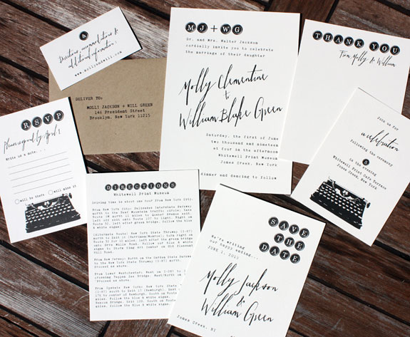 Degraw Street - typewriter retro-themed wedding invitations from PostScript Brooklyn