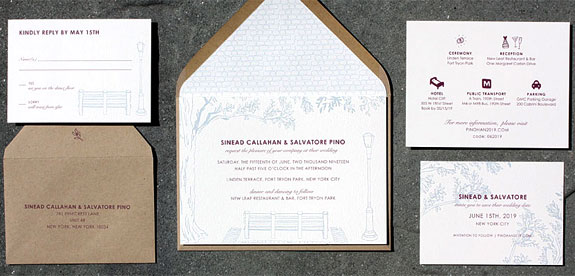 Fort Tryon Park - a wedding invitation from PostScript Brooklyn