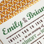 Emily and Brian-love that liner! 2 color letterpress Brooklyn wedding invitation for Roberta's pizzeria with pizza slice liner