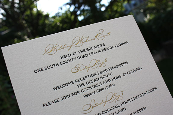 Katherine and John - this invitation features gold matte and black letterpress printing on 2 ply cotton card stock, corner rounding, gold matte edging and palm fronds