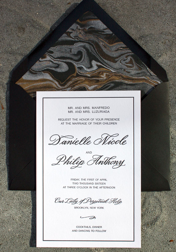 Danielle and Philip - the marble liner beautifully compliments the classic black and white letterpressed invitation