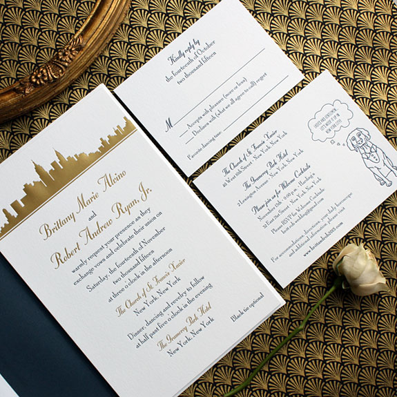 Brittany and Robert - A winning combination of a stunning gold foil skyline and custom decked-out dog illustration.  The skyline is the Studio 360 suite from our exclusive PostScript Brooklyn collection.