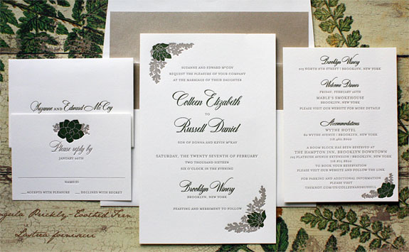 Colleen and Russell - A rich palette of moss and taupe paired with a shimmer envelope liner make for a truly elegant invitation