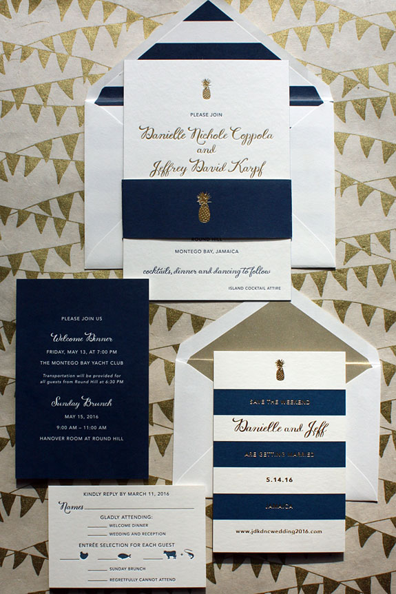 Danielle and Jeff - Gold foil, navy stripes, and a pineapple motif from save the date through invitation are a perfect combination for this destination wedding in Jamaica