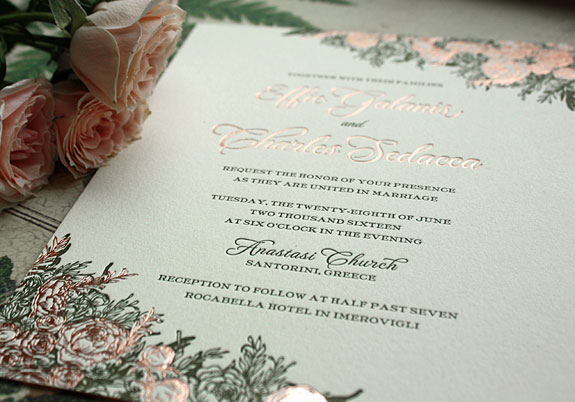 Effie and Charles-this romantic invitation features a custom floral illustration in rose gold foil and letterpress on 2 ply paper with foil edging