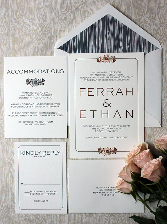 Ferrah and Ethan-a lovely floral illustration printed in soft penny foil with charcoal letterpress and wood grain inspired liner