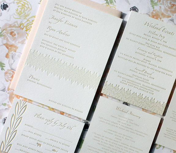 Jennifer and Ryan-the blush envelopes are the perfect compliment to the lovely floral patterns and soft tones on this romantic wedding invitation