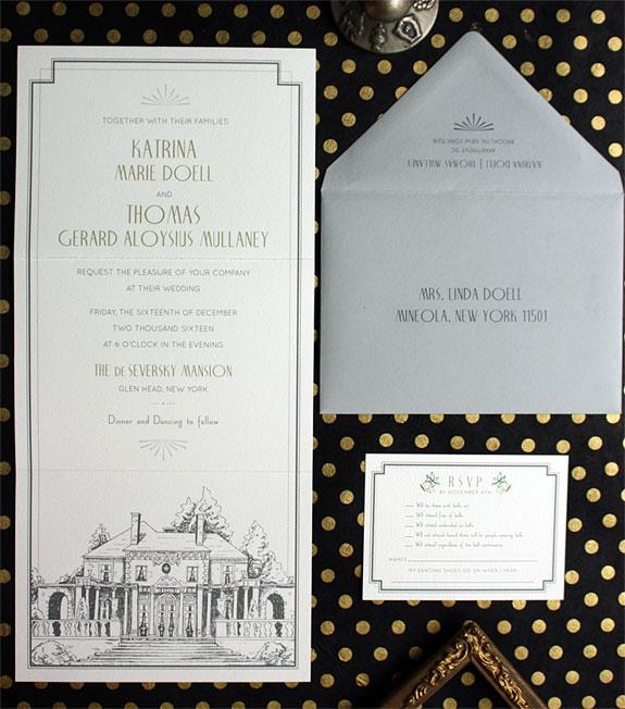 Katrina and Thomas-digitally printed tri-fold invitation featuring a custom illustration of the event location