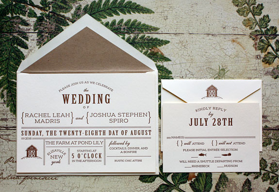 Rachel and Joshua-fonts are the key to this whimsical rustic invitation for a farm wedding printed in one color letterpress