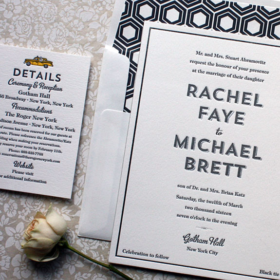 Rachel and Michael-Their New York City wedding invitation carries the classic taxi from their digital save the date onto their letterpress and silver foil invitation.  Custom Gotham Hall illustration by Victoria Neiman Illustration.