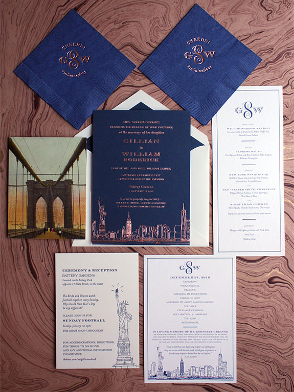Gillian and William-the South Ferry wedding invitation customized with rose gold foil on 2 ply navy paper and vintage Brooklyn Bridge postcard on back of the reply card.  Also shown are monogrammed wedding day stationery and napkins.