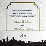 Danielle and Matthew - the stunning combination of gold foil frame and blind letterpress pattern make this a striking invitation. The belly band is the Riverside Drive suite skyline from our PostScript Brooklyn collection.
