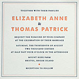 Elizabeth and Thomas - A wonderfully minimalist invitation with a sweet peach and navy letterpressed ink, clean design with print fonts and unexpected kraft stock