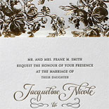 Jacqueline and Paul - Love how the boldly elegant gold foil floral patterned liner creates a dramatic backdrop for the classic design of the invitation