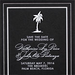 Katherine and John-this modern save the date features a palm tree in white on 2 ply black card stock