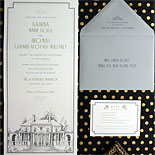 Katrina and Thomas-digitally printed tri-fold invitation featuring a custom illustration of the event location