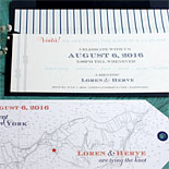 Loren and Herve - fun, nautical themed wedding invitation with luggage tag card, vintage ship and blue striped envelope liner