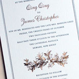 Qing Qing and James - The classic border frames a gorgeous copper foil and navy letterpress invitation