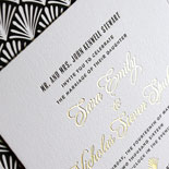 Sara and Nicholas-Art Deco style wedding invitation with gold foil and black letterpress