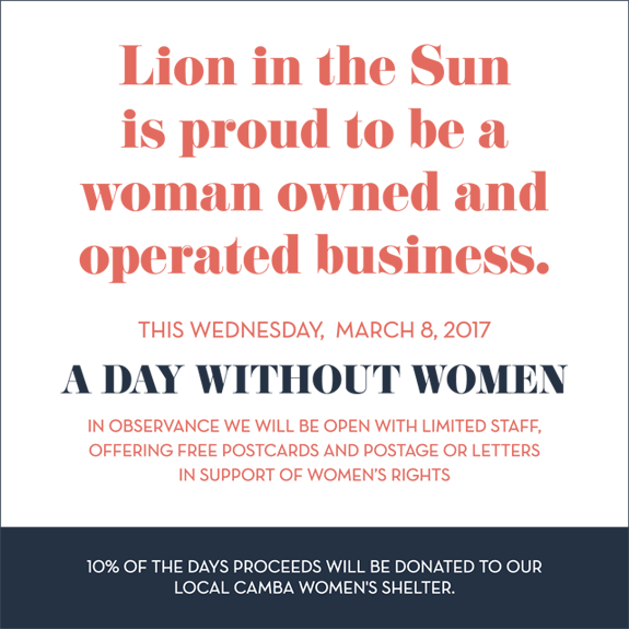 Lion in the Sun supports A Day Without A Woman