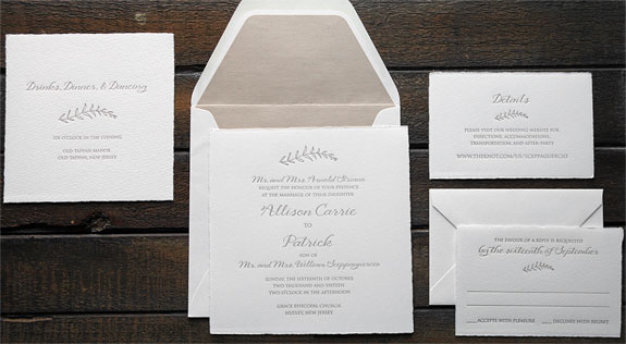 Allison and Patrick - A lovely invitation with a simple branch motif, shimmer liner and deckled edge
