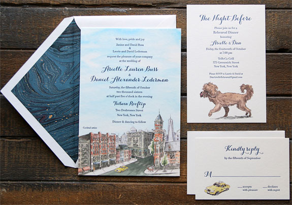 Arielle and Daniel - Custom watercolor images of downtown NYC, couple's dog and classic yellow cab by Allison Steinfeld, with stunning liner to compliment this playful invitation