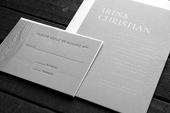 Irina and Christian - What could be more fitting for this seaside resort wedding than this beautifully letterpressed wood grain invitation