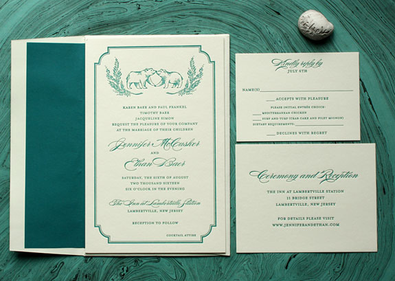 Jennifer and Ethan - A sumptuous teal letterpress on ecru stock and matching liner with charming bear illustration by Victoria Neiman Illustration