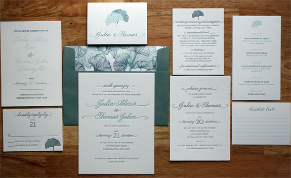 Julia and Thomas - We adore the detail of the gingko leaves, the wonderful color choices and the beautiful hand calligraphy on this invitation