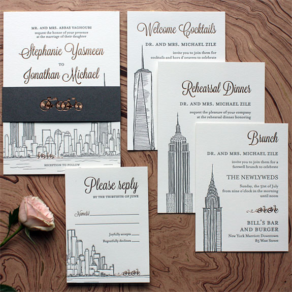 Stephanie and Jonathan - This Tour de Manhattan includes the NYC skyline, copper foil on all invitation pieces and belly band and bicycles scooting all about these NYC landmarks. Illustration by Victoria Neiman Illustration.