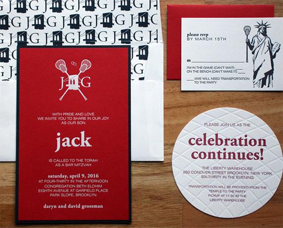 Jack - A super fun sports themed Bar Mitzvah invitation featuring Brooklyn Bridge / lacrosse monogram!