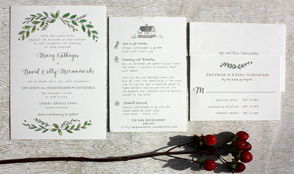 Mary and David - A floral motif and other charming illustrations grace this sweet wedding invitation.