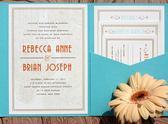 Rebecca and Brian - A festive border, art deco fonts and NYC map make this pocket folder invitation perfect for the urban elegance of their Manhattan Penthouse wedding