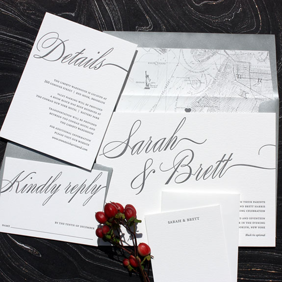 Sarah and Brett - Love the bold silver calligraphic font bleeding off the edges and Brooklyn map liner