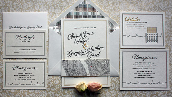 Sarah and Gregory - The ultimate Manhattan / Brooklyn invitation featuring gold foil and black letterpress, illustrations of the Wythe Hotel and a NYC skyline and an East River letterpressed belly band.