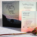 Bradley and Katie - A gorgeous custom invitation with artwork by Ella Romero, an extraordinary example of how digital printing and letterpress can enhance each other.