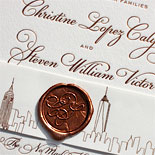 Christine and Steven - An elegant copper foil New York City inspired invitation suite complete with a custom monogrammed wax seal. A perfect balance of elegance and whimsy.