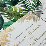 Gabrielle and Nicholas - A tropical garden watercolor liner which also frames the wedding program is a stunning backdrop for the gold and moss thermography of the Jamaican wedding invitation suite. Painting by Ella Romero.