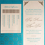Priya and Aspan - A travel ticket inspired wedding invitation for a desitnation wedding in Portugal with gold ink and azure metallic pocket folder
