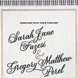 Sarah and Gregory - The ultimate Manhattan / Brooklyn invitation featuring gold foil and black letterpress, illustrations of the Wythe Hotel and a NYC skyline and an East River letterpressed belly band