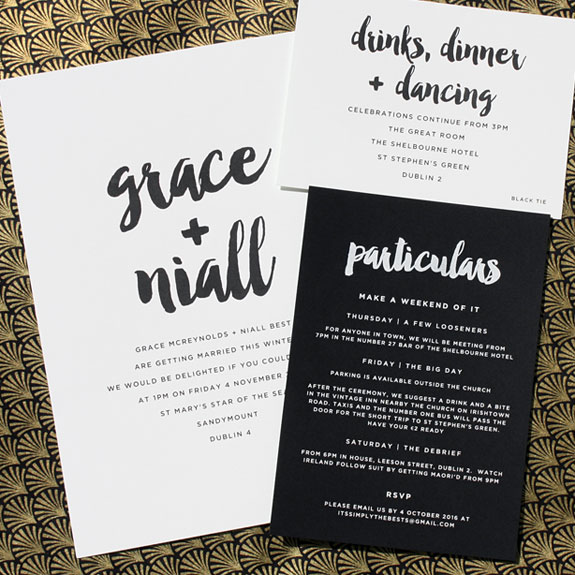 Grace and Niall - The particulars include engraved black and white inks and a sans serif font beautifully contrasting and highlighting brushed calligraphy accents