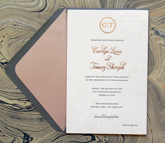 Carolyn and Tomasz - Beautiful letterpress map invitation with delicate foil stamping